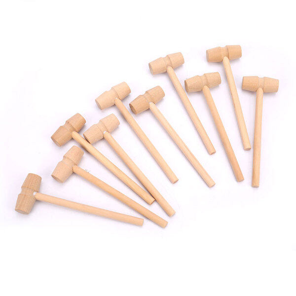 Graceful 10 Pieces Mini Wooden Hammer Balls Toy Pounder Replacement Wood Mallets Baby