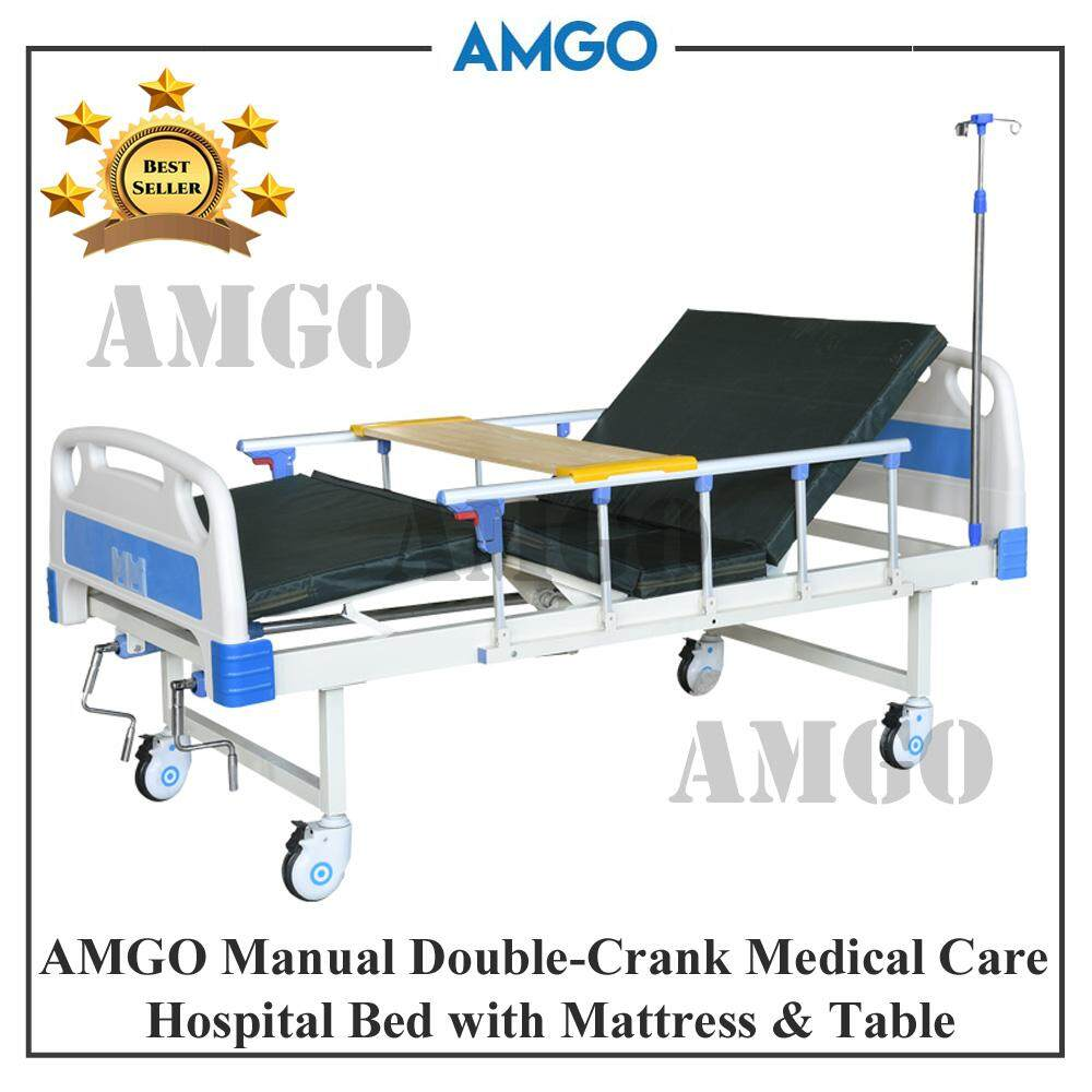 AMGO Manual Double-Crank Medical Care Bed Hospital Bed Home Care With  Mattress and Dining Table