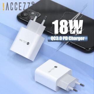 ACCEZZ Bộ Sạc Nhanh 18W PD USB C, Phích Cắm 3.0 Châu Âu Cho IPhone 11 Pro Max IPad Samsung, Bộ Sạc Nhanh Cho Điện Thoại Android USB Loại C, Bộ Chuyển Đổi Tường Du Lịch thumbnail