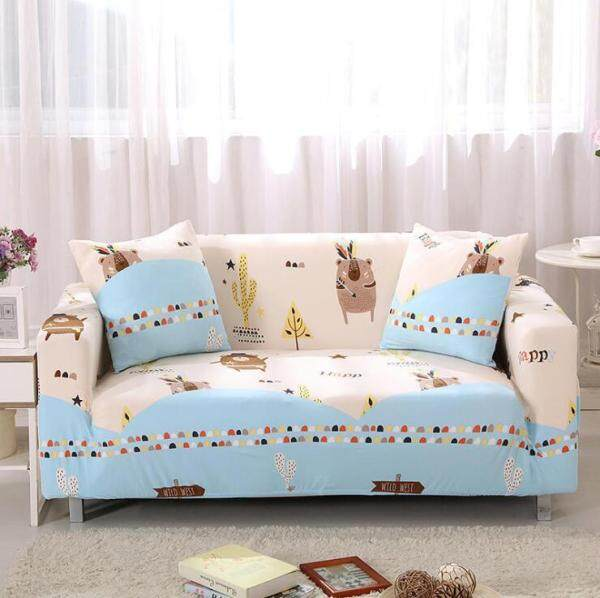 ALPACA Cute Animal Cartoon Print Sofa Cover 1 2 3 4 Seater Korea Style Cozy Polyester Fulling Cover Couch Slipcover Fabric Children Sofa Recover Universal LSeat Protector