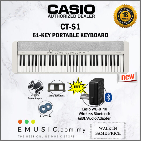 Casio CT-S1 61-key Portable Keyboard - White (Casiotone / CTS1 / CT S1) Malaysia