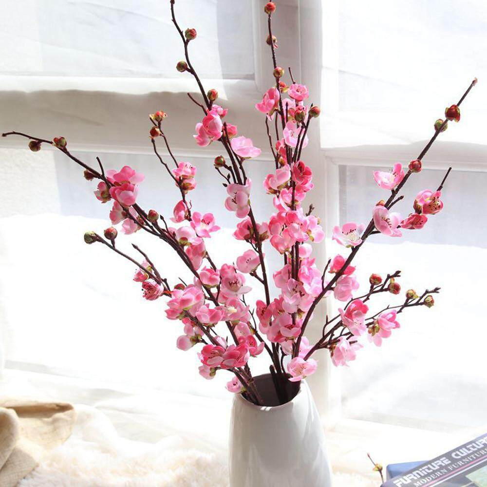 Artificial Fake Flowers Plum Blossom Floral Wedding Bouquet Home Decor Hot  Pink /MW32 Artificial Flower Winter Plum Flower Japanese Cherry Blossom  ...