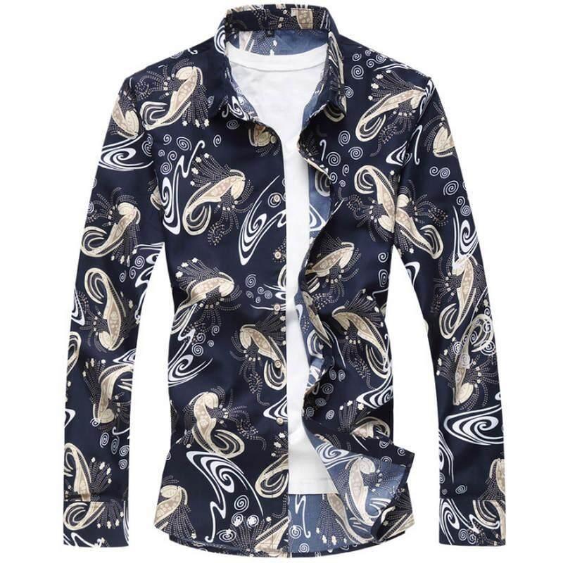 12b89e483afe 2019 Fashion Floral Men s shirts Plus size M~5XL 6XL 7XL flower printed Casual  camisas