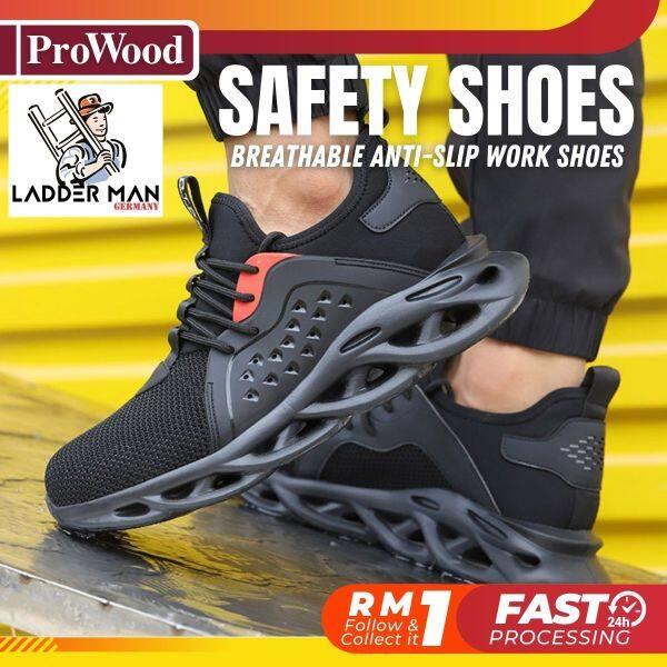 LDM-478 Black / Green LADDERMAN Safety Shoes Work Breathable Anti-Slip Reflective Design Protective Steel Toe