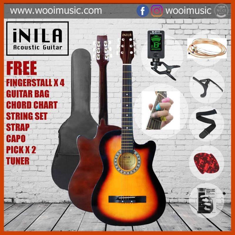iNILA i38C Acoustic Guitar 38 Pack B - Sunburst (FREE bag, strap, pick, capo, string, chord chart, finger stall,tuner) Malaysia