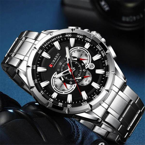 CURREN Top Brand Fashion Mens Quartz Watches Full Steel Creative Date Quartz Clock Casual Men Sport Waterproof Chronograph Watch Malaysia
