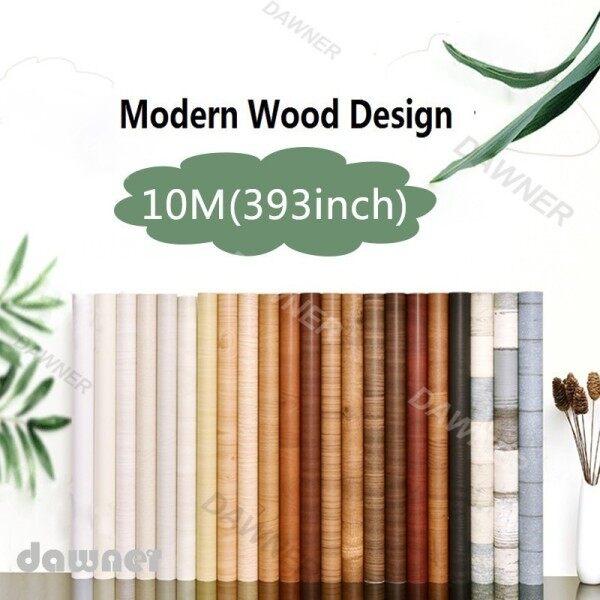 【SPOT HOT SALE】 New 2021 10M PVC Waterproof Self Adhesive Wallpaper wardrobe Cabinet Wood Grain Sticker old Furniture renovation Modern Furnitures Decorative Stickers