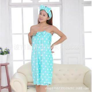 Honana BX-388 Khăn Tắm Mềm Không Dây Flannel Áo Choàng Tắm, Bộ Khăn Tắm SPA Cho Nữ Với Băng Đô thumbnail