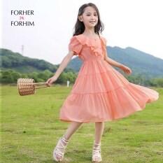 Đầm Dự Tiệc Cho Bé Gái 2020 Trang Phục Trẻ Em Mới Váy Bé Gái Màu Xanh Cam Chân Váy Công Chúa Thời Trang Nước Ngoài FH0488