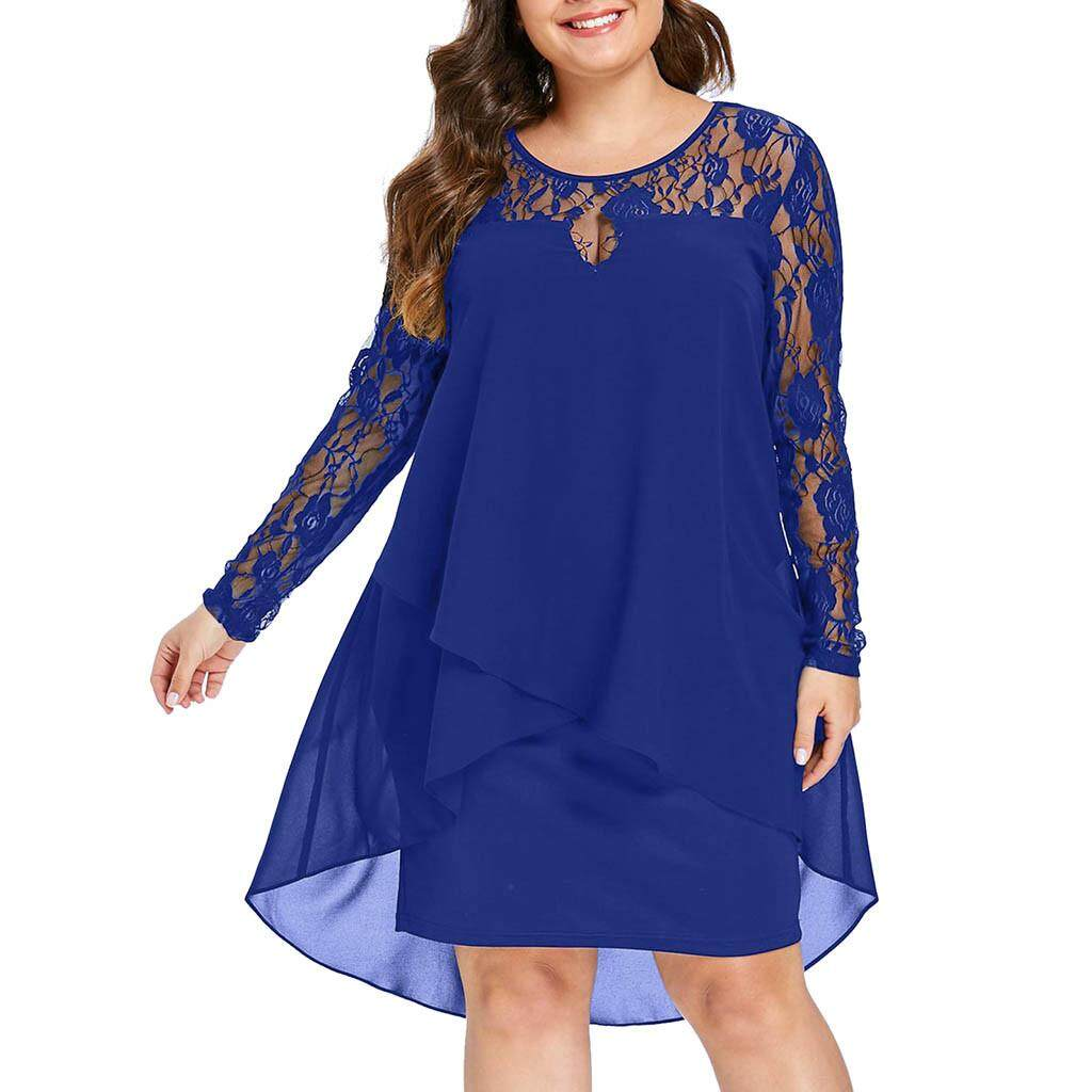 fefdb12e782a Fashion Women Casual Plus Size Sheer Lace Sleeve High Low Hem O-Neck Swing  Dress