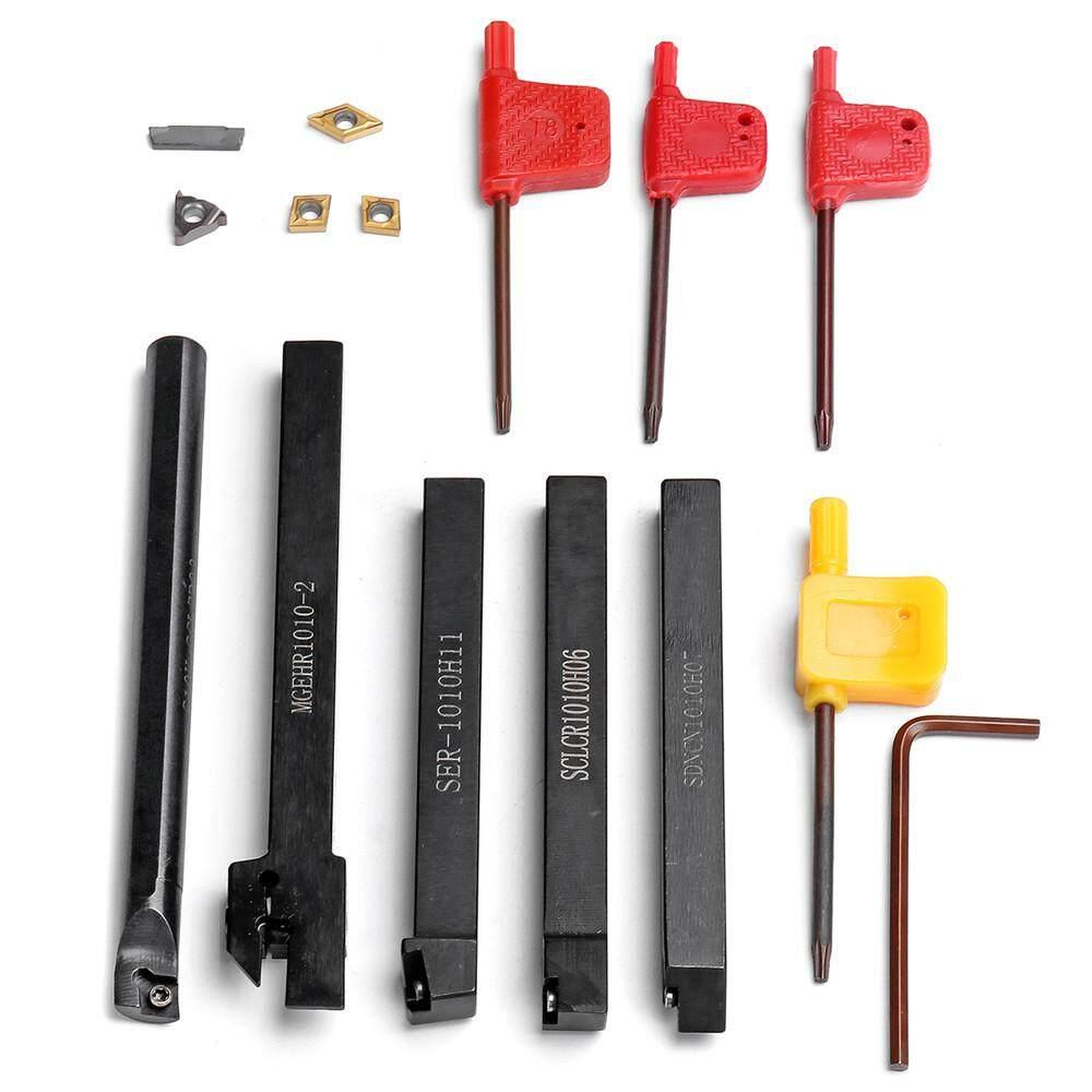 10MM Shank 5Pcs CNC Lathe Turning Holder Tool set + Inserts Blade + Wrench Bench