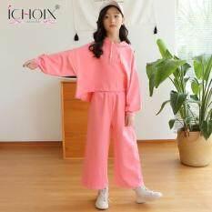 ICHOIX bộ quần áo thời trang mùa thu cho bé gái bộ đồ năng động gồm áo dài tay màu trơn cổ cao và quần ống rộng 9 tấc phong cách Hàn Quốc – INTL