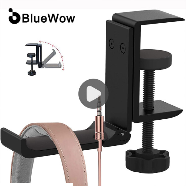 [2021 Upgrade] BlueWow XJL-DB02 Desk Hook Headphone Stand Hanger, Foldable Aluminum Alloy Headset Holder, Multi-Function Gaming Headset Hanger Mount with Cable Clip Organizer Singapore