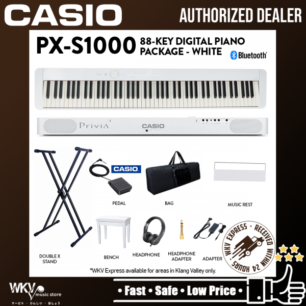 Casio Privia PX-S1000 88-key Digital Piano Keyboard Musician Package with Piano Stool - White (PXS1000 / PX S1000) Malaysia