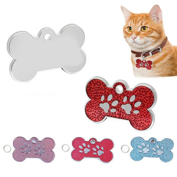 1 Chiếc Khắc Hình Chó Mèo Thú Cưng Thẻ Cổ Áo Hình Xương Tên ID, Tấm Trang Trí Mặt Dây Chuyền
