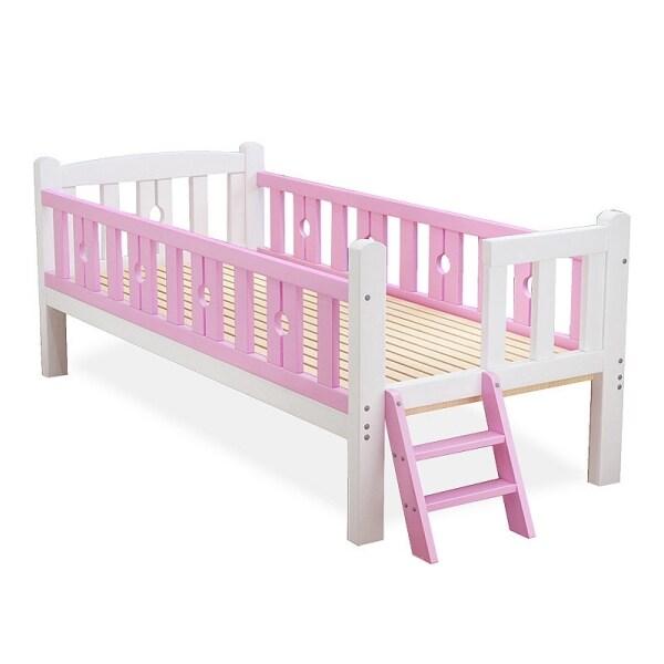 Toddler Bed Wood Kids Bedframe Children Classic Sleeping Bedroom Furniture, Safety Rail Fence