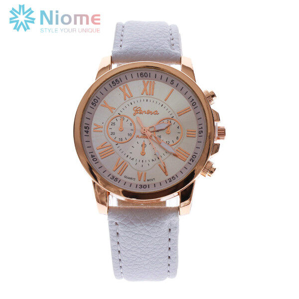Niome Fashion Geneva Roman Numerals Leather Analog Quartz Watch Casual Couple Watch Wrist Watches for Men Women Malaysia