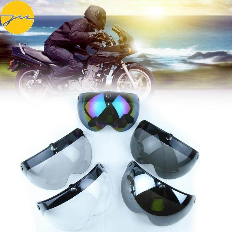 Clear Universal Motorcycle Helmet 3-Snap Visor Shield Flip Up Down