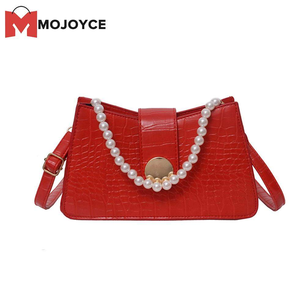 Red Youngh Handbags for Women Shoulder Bags Tote Satchel Lady Solid Color Crocodile Pattern Messenger Bag