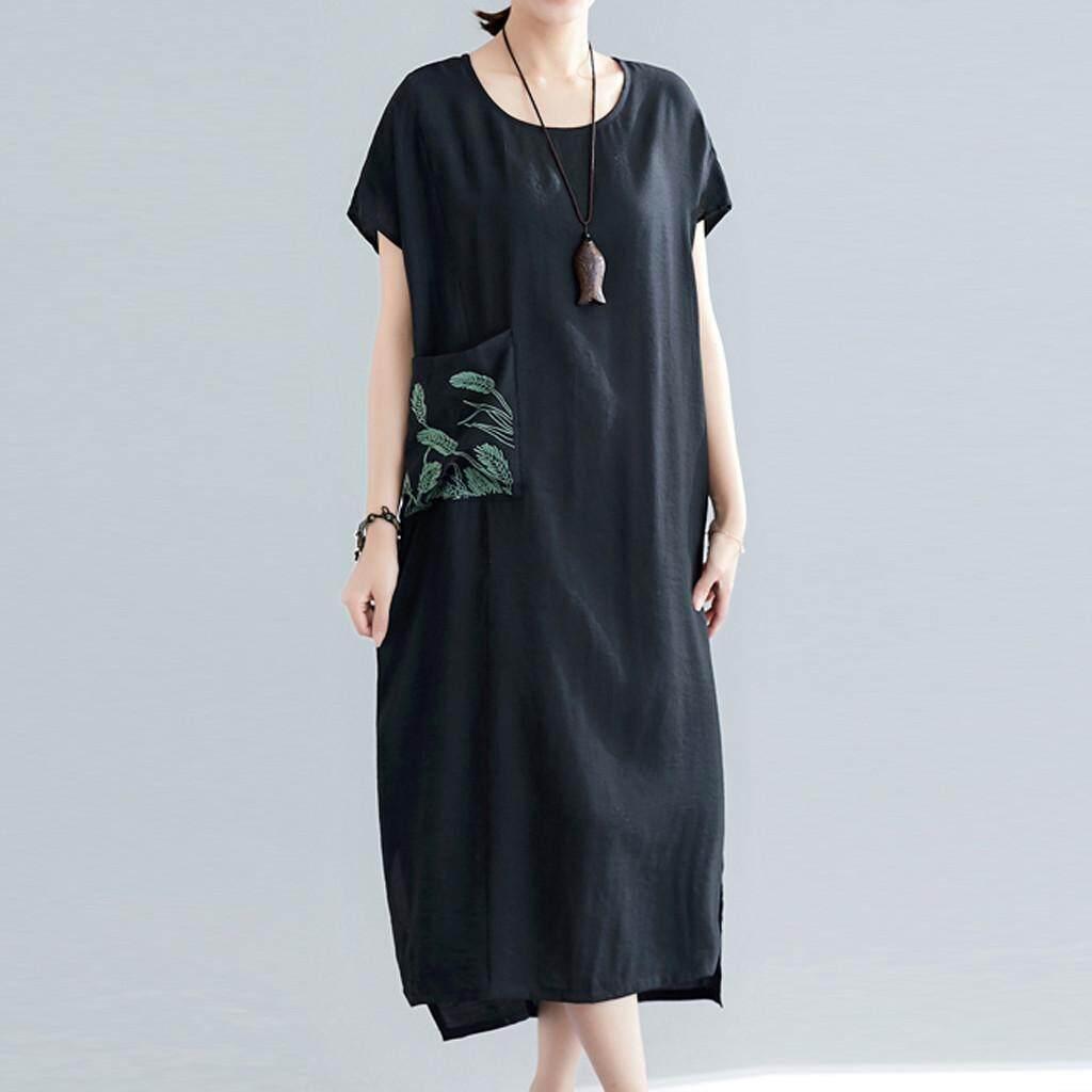 4e7c845eb5543 Auburyshop Womens dresses Women Cotton Linen Short-sleeve Embroidered Patch  Pocket Side Slit Loose Dress