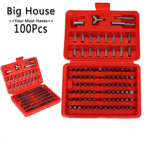 Big House 100Pcs Set Tools Box Magnetic Bit Set Screwdriver Holder Torx Hex Star Spanner Screws Security Tamper Proof Bit Tool