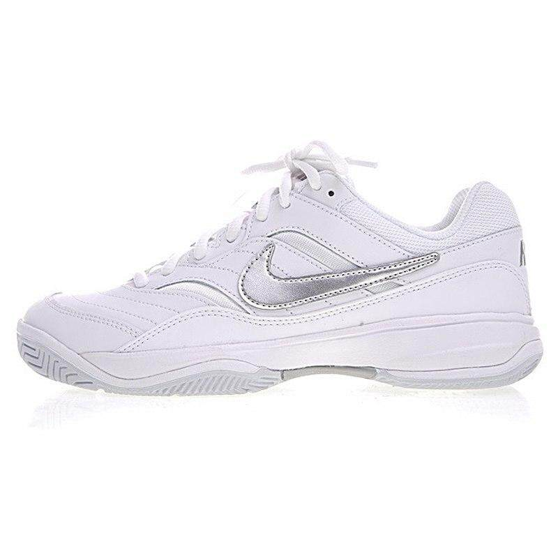 Nik Court Lite Womens Tennis Shoes Womens Comfort Original Breathable Outdoor Shoes White Silver Leather Rubber 845048 100 By Moonstor.