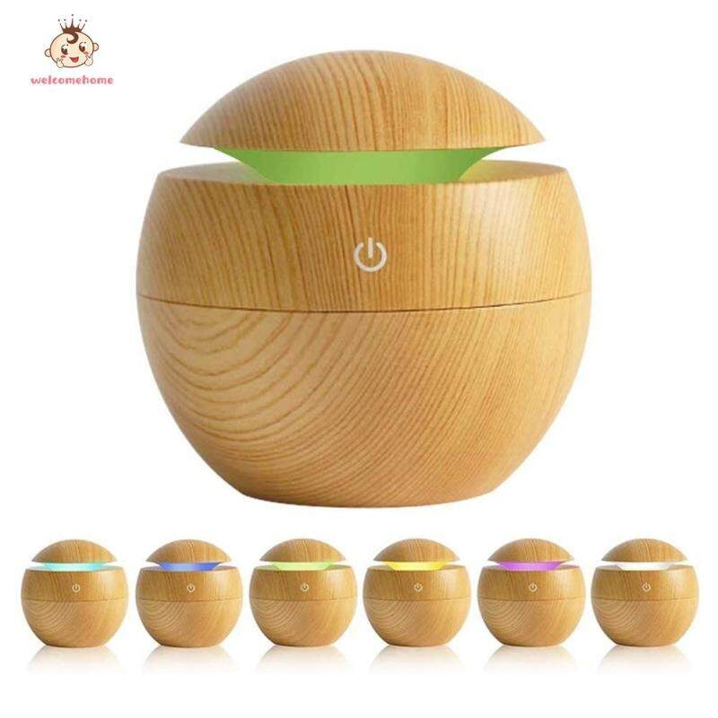 Wood Grain Air Humidifier Essential Oil Diffuser with Colorful Light Air Purifier Home Appliances Singapore