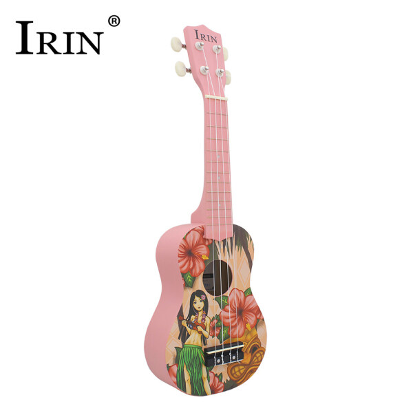 IRIN 21 Inch Acoustic Soprano Ukulele Ukelele Uke Basswood Chất Liệu Với Các Mẫu Phong Cách Hawaii Đẹp Màu Hồng