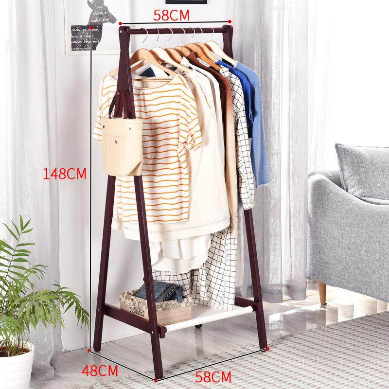Yishangju Floor Cloth Hanger Solid Wood Clothes Rack Bedroom Multi-functional Hallstand Clothes Rack Creative Clothes Storage Rack