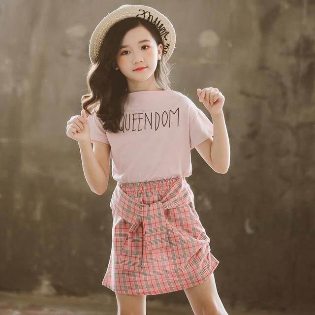 Yaleer Trẻ Em Bé Gái Quần Áo Hàn Quốc Sọc Áo Thun Và Váy Kẻ Sọc 2 Cái Bộ Rộng Cho Mùa Hè Quần Áo Trẻ Em Bộ cô Gái Tuổi Teen Cotton Ngắn Tay