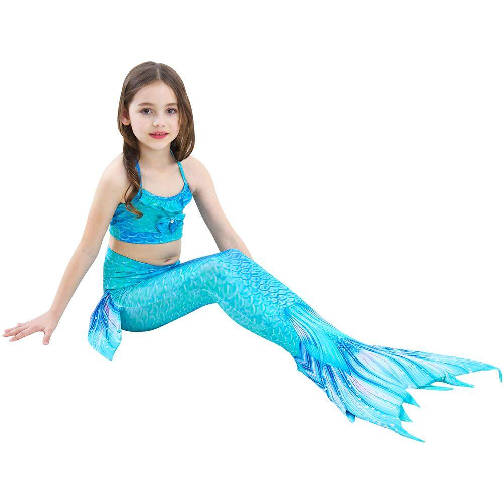 Yaababy 3pcs Set Girls Gradient Color Fish Tail Princess Swimsuitbikini Set Cosplay Costume By Yaababy.