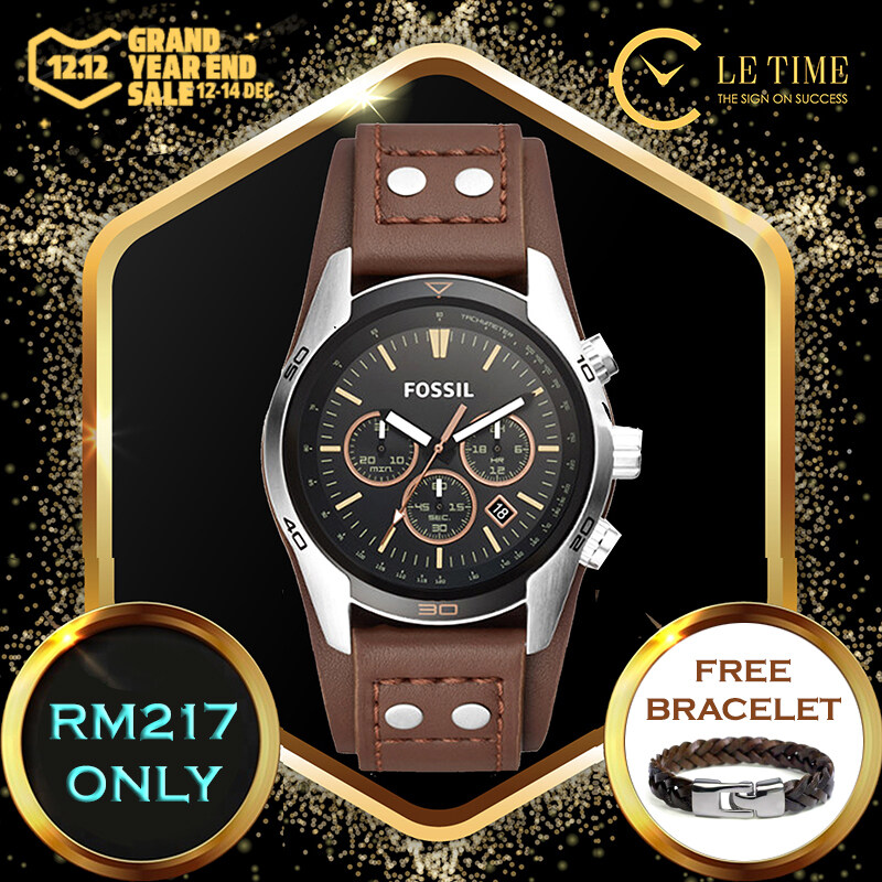 [Authentic *FREE BRACELET*] Fossil Coachman Chronograph Brown Leather Men Watch Jam Tangan Lelaki CH2891 Malaysia