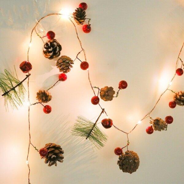 Bảng giá Đèn Trang Trí Hình Nón Thông, Đèn LED Dây Đồng 2M, 20 Bóng, Dùng Trang Trí Giáng Sinh, Ngày Lễ, Tiệc, Quán Cổ Tích