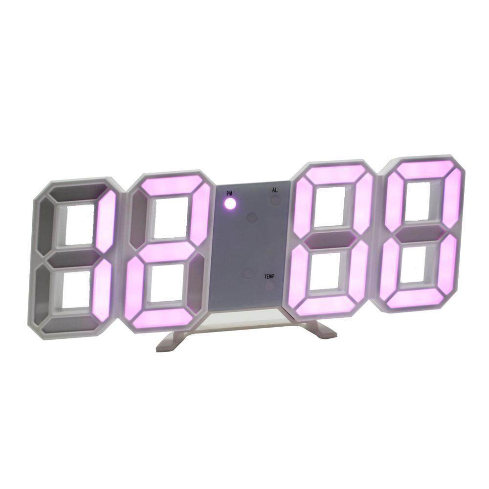 SilyNew 3D Digital Alarm Clock Indoor Temperature, Date, Modern Night Light Clock, Best Decorative LED Number Time Clock for The Wall, Table, Bedside, Desk