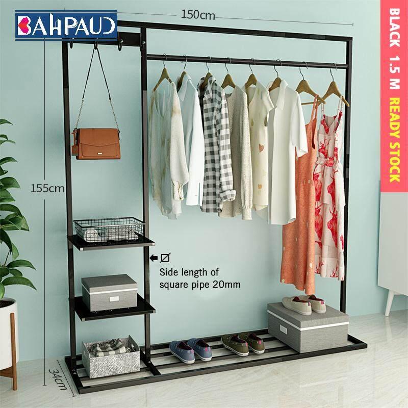 BAHPAUD Multifunctional Floor Coat Rack Bedroom. Single Pole Folding Room Storage Rack