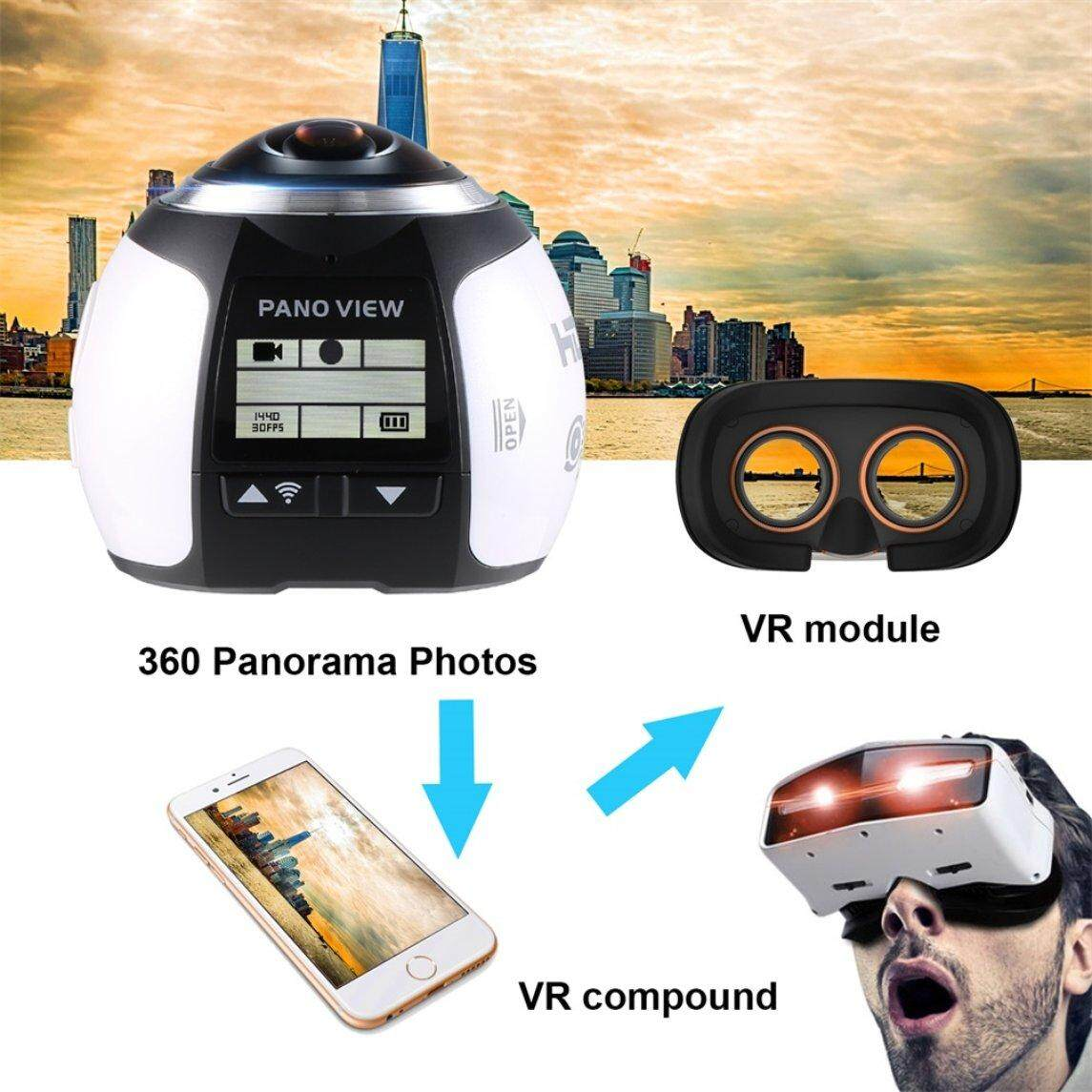 Flash Sale 360 Degree Wifi 2448P 30FPS 16M Film Camera for Virtual Glasses VR Action Sports Outdoor Activities Camera Car DVR