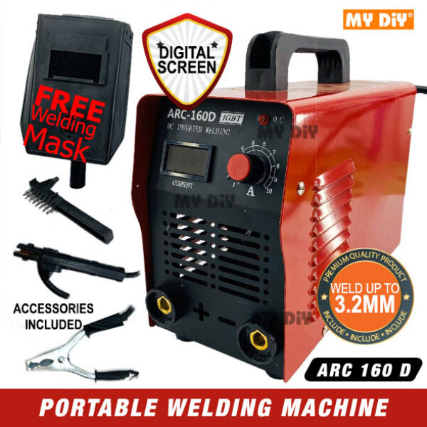 MYDIYHOMEDEPOT - Welding Machine With Digital Display ARC 160 D / Professional Digital Display Portable Mini Welding Machine / IGBT MMA Machine Inverter ARC 160 With Free Welding Mask Weld Up To 3.2mm