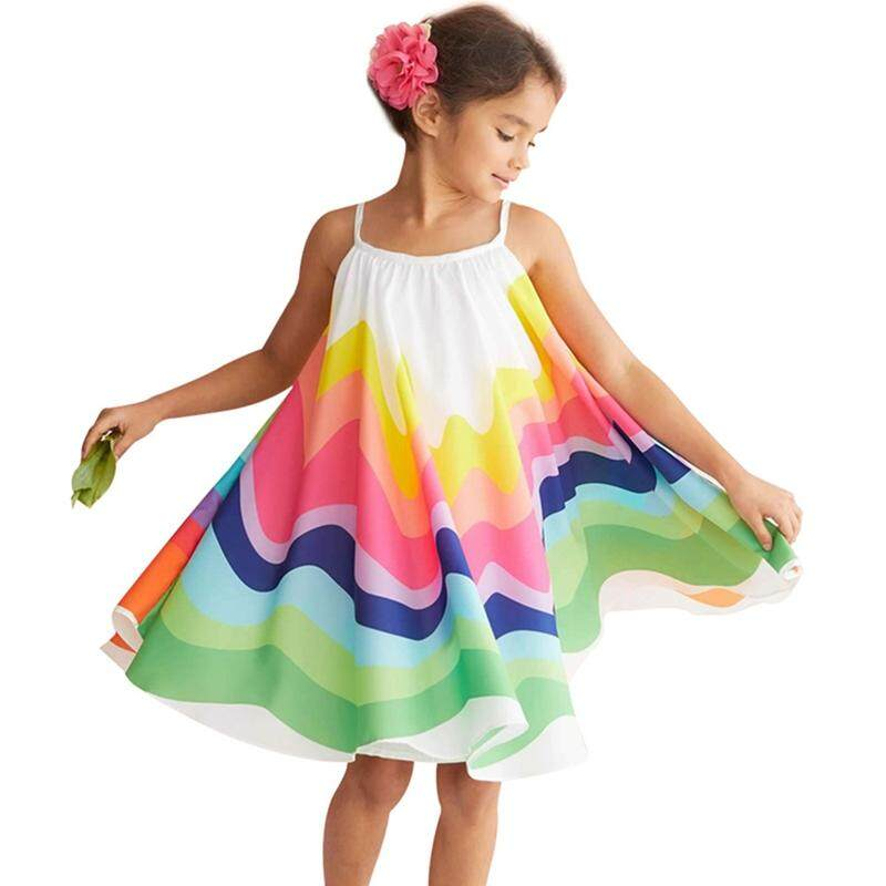 ff2ec157 Summer Chiffon Sleeveless Strap Dress Toddler Little Girl Rainbow Print  Princess Dress