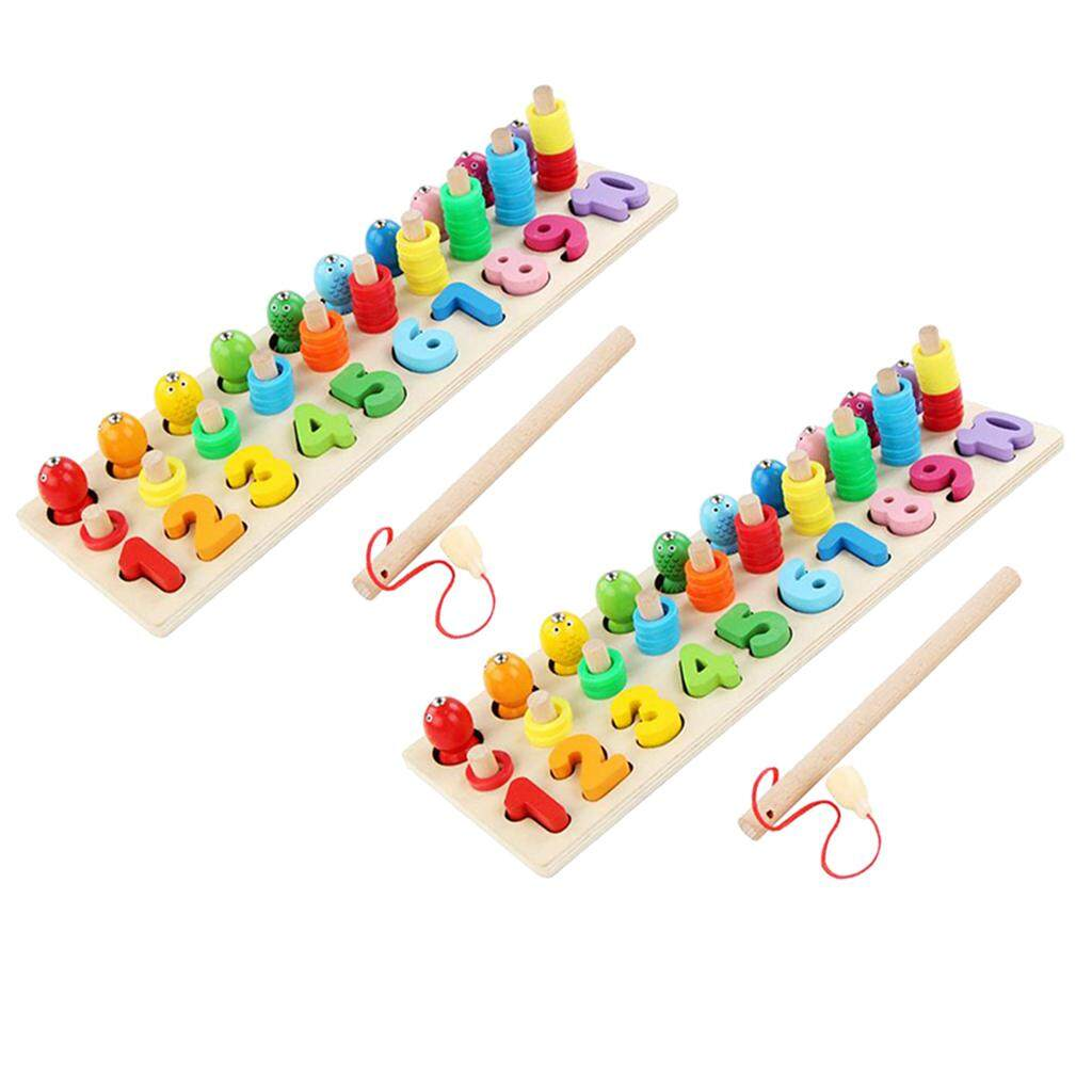 BolehDeals 2Pieces Three-dimensional Matching Board Game Display Wooden Fishing Toys