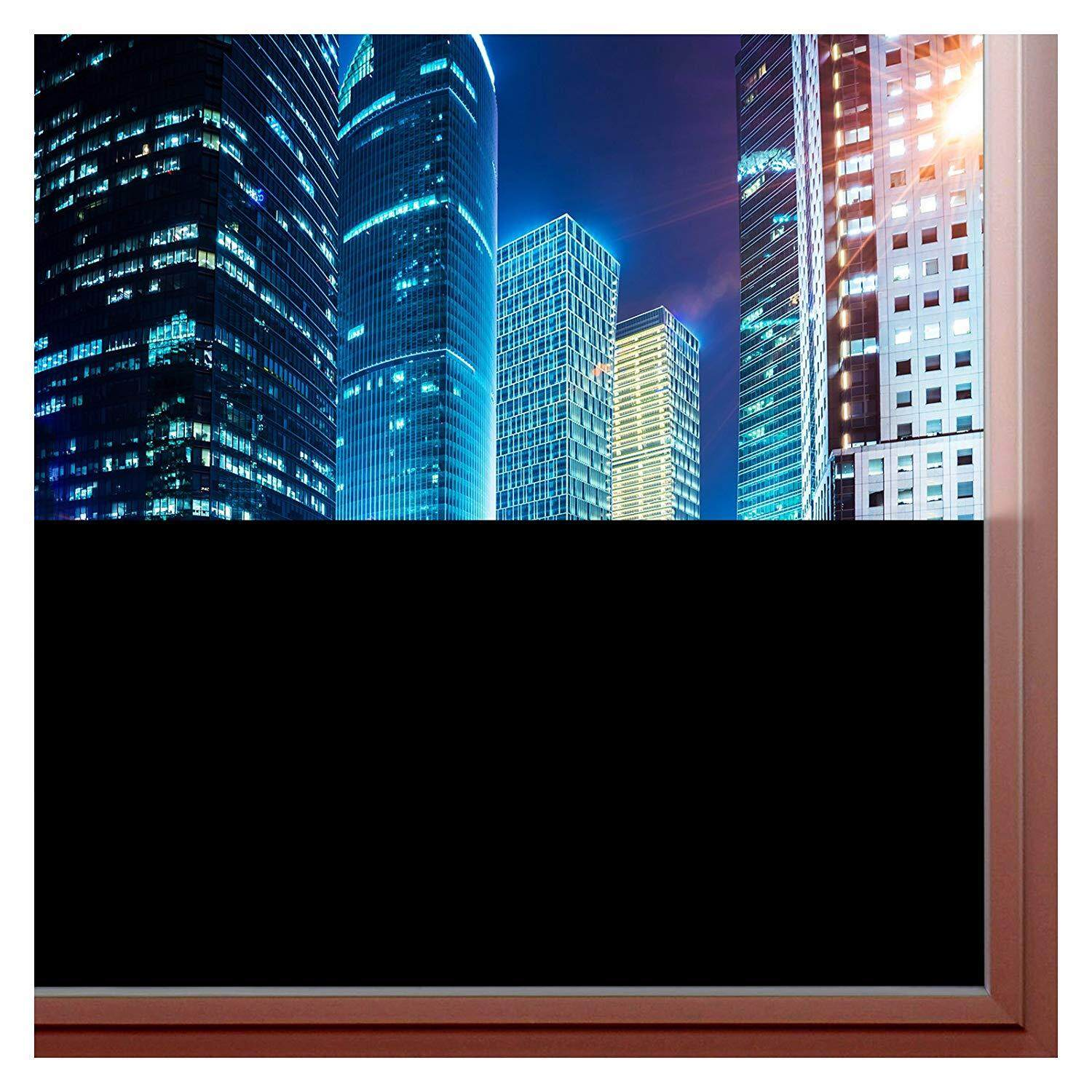 Window Film Blackout (Non Adhesive Static Cling) 100% Light Blocking - Easy Installation, Removal & No Residue- 36in X 14ft