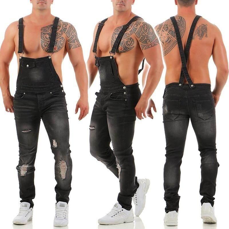 0cd300164bc 2019 Men s Fitness Denim Overalls Denim Jumpsuit Rompers Dungarees 3 Colors  Men s Fitness Denim Overalls Fashion