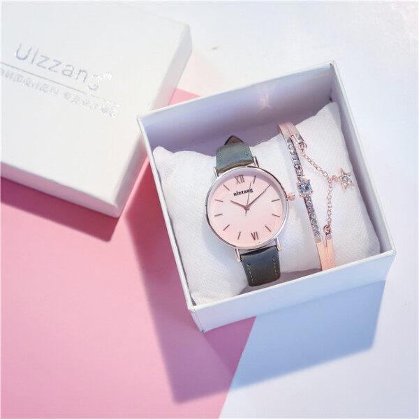 [LazChoice][Free Nice Bracelet&Watch Box]Ulzzang Fashion Watch For Student Girl Ins Korean Simple Trendy Women Casual Leather Strap Ladies Quartz Wristwatch Malaysia