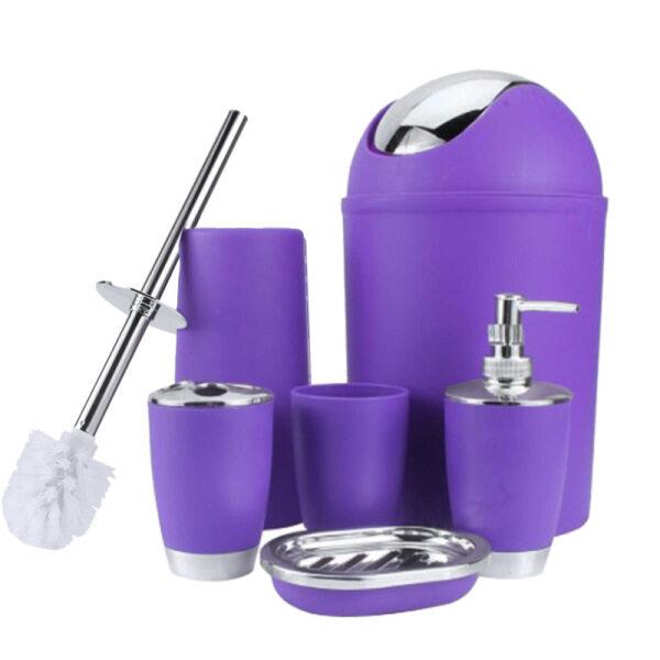 Bảng giá 6 In 1 Bathroom Toothbrush Holder Hand Bottle Soap Holder Toilet Brush Waste Bins Bathroom Accessories Set Phong Vũ