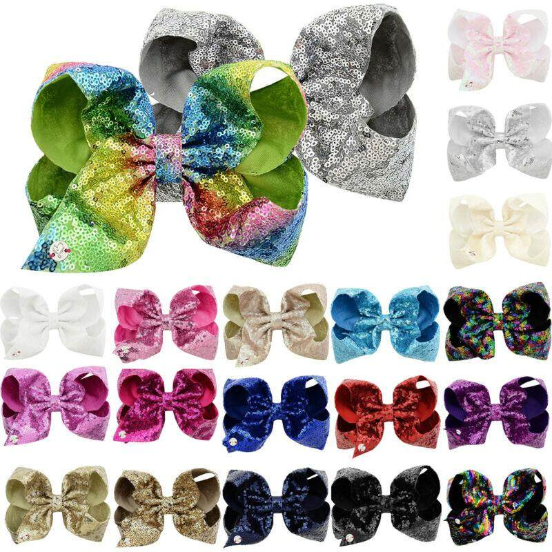 JOJO SIWA Large 8 Inch Hair Bow Rainbow Bowknot Hair Clips For Girls Kids