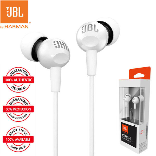 Original JBL C100Si In-ear Stereo 3.5mm Jack Wired Earphone With Harman Pure Bass Sound Music Sports Gaming Headset With Mic Handsfree For iOS IPhone and Android Samsung Xiaomi Huawei Oppo Vivo Singapore