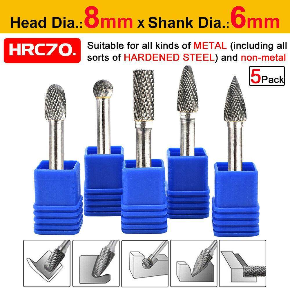5pcs 1/4 Tungsten Carbide Rotary Point Burr Die Grinder Shank Set 6mm Dia.8mm