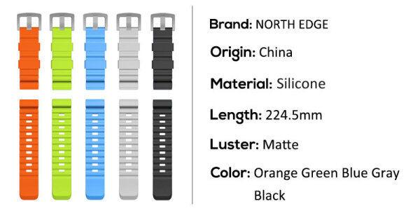 NORTH EDGE 24mm Multiple Colour Strap Silicone Sports Strap Apply to Apache3/ Gavia2/Range5 Malaysia