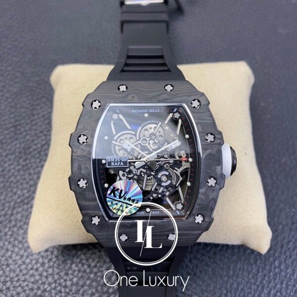 [ONE LUXURY] RM 035 / RM35-02 RAFAEL NADAL FOUNDATION LIMITED EDITION NTPT CARBON ON BLACK RUBBER STRAP Malaysia