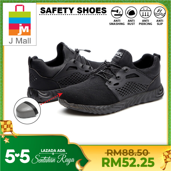 J MALL Safety Shoes Sport Shoes Wear-Resistant Anti-Smashing Anti-Puncture Flying Woven Breathable Electrical Insulation Work Sneakers Protective Steel Toe Cap Shoes - 830 (BLACK / GREY)
