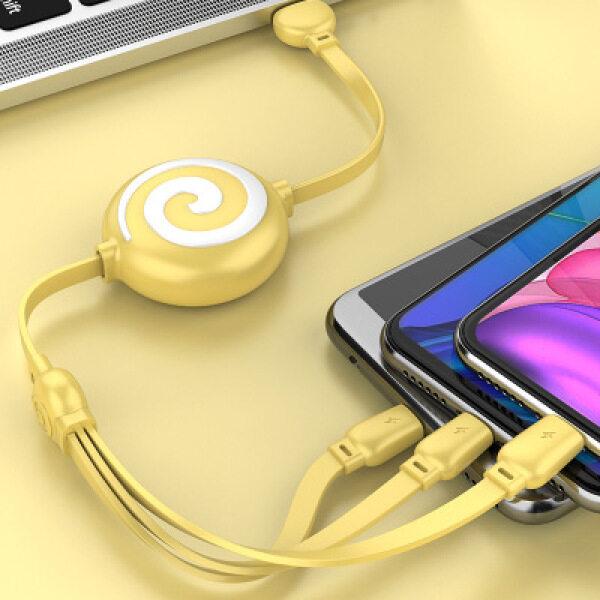 Apple Android Type-C Kính Thiên Văn Cáp Dữ Liệu Màu Macaron Kính Thiên Văn Cáp Ba-Trong-Một Di Động Nhanh Cáp Sạc Điện Thoại Cáp USB